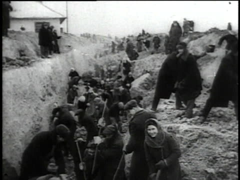 men and women digging trenches with shovels / citizens moving dirt to build trenches and walls - 災害対策点の映像素材/bロール
