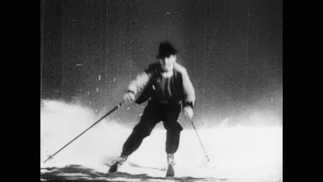 1945 men and women snow ski - slalom skiing stock videos & royalty-free footage