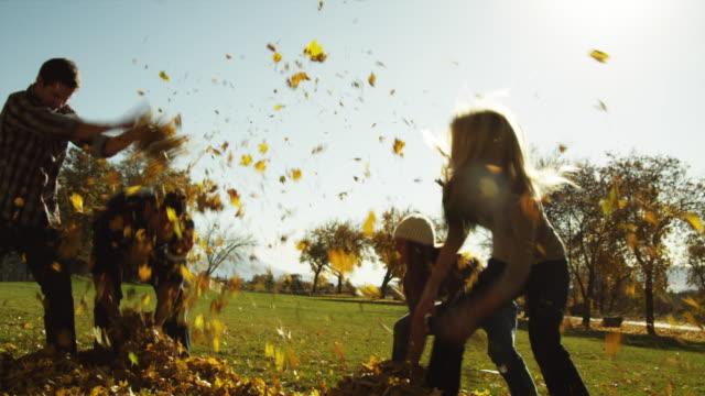 vídeos de stock e filmes b-roll de ws slo mo men and women throwing leaves in garden / provo, utah, usa - arremessar