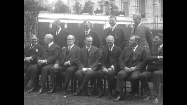 men arrive at chairs outdoors two chat / front row lr postmaster general harry stewart new secretary of war john w weeks secretary of state charles... - 1924 stock videos and b-roll footage