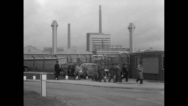men arrive for work at windscale nuclear power plant; 1956 - 1956 stock videos & royalty-free footage