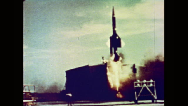 men at control panel inside control the bomarc missile as it takes off from the launchpad - cold war stock videos and b-roll footage