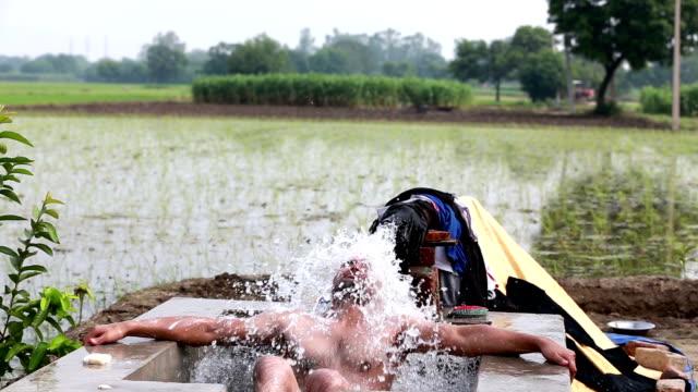 Men Bathing Outdoor