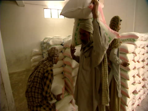 men carry sacks of flour into a truck. - loading stock videos & royalty-free footage