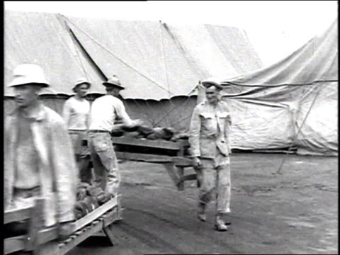 men carrying loaves of bread on stretchers / camp sherman, chillicothe, ohio, united states - 1918 stock videos & royalty-free footage