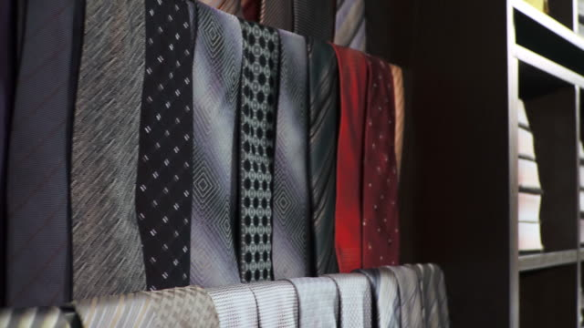 hd: men clothing store - necktie stock videos & royalty-free footage