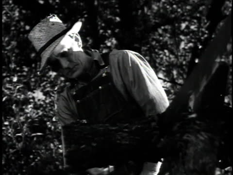 1923 ms men cutting log with two-man hand saw / united states - hand saw stock videos and b-roll footage