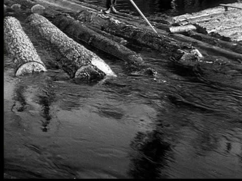 1927 b/w montage ws cu pan men directing floating logs through sluice, ontario, canada - log stock videos & royalty-free footage