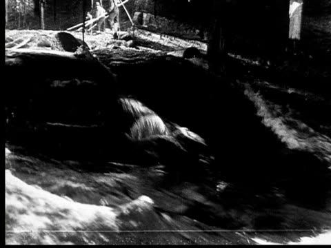 1927 b/w montage ws cu pan men directing floating logs through sluice, ontario, canada - 1927 stock videos and b-roll footage