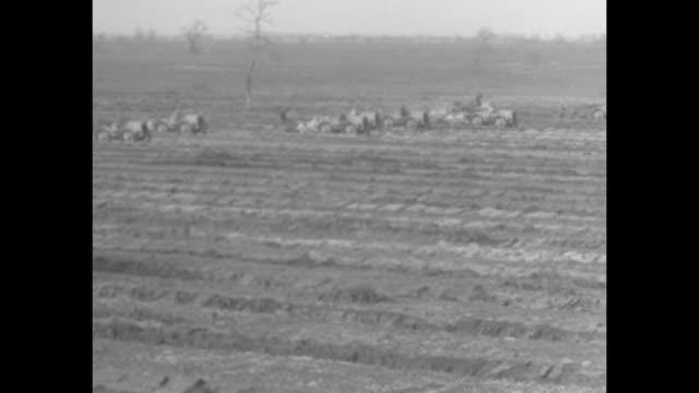 stockvideo's en b-roll-footage met men driving row of tractors hauling ditch-digging implements across area of marsh / two wide shots men driving tractors hauling ditch-digging... - moeras