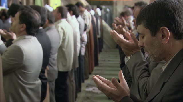 ms men during friday prayers in imam mosque, esfahan, iran - mosque stock videos & royalty-free footage