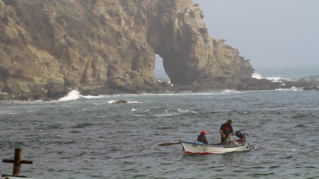 vídeos y material grabado en eventos de stock de ms men fishing with boat / horcon, chile - wiese