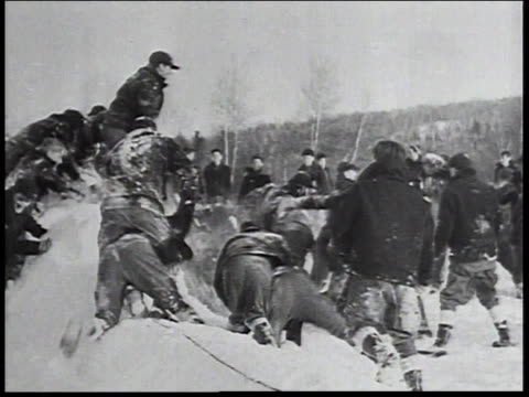 1934 ws men have snow ball fight / united states - 1934 stock videos & royalty-free footage
