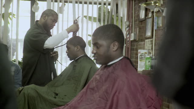 ms pan men having haircuts done at barbershop, brooklyn, new york city, new york state, usa - see other clips from this shoot 1437 stock videos and b-roll footage