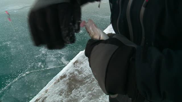 vídeos y material grabado en eventos de stock de wgn men ice fishing in lake michigan in chicago on dec 31 2017 - caña de pescar