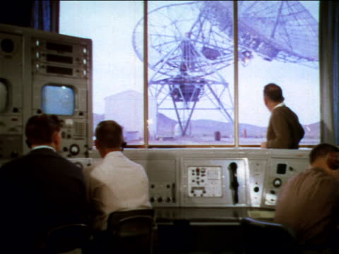 1960 men in control room adjusting satellite dish seen thru window / industrial - 1960 stock videos & royalty-free footage