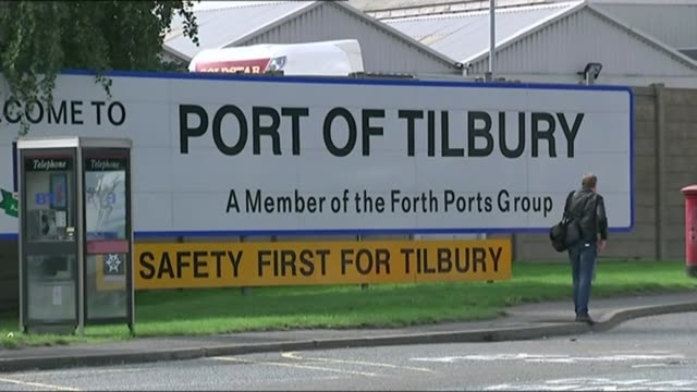men in court accused of tilbury docks human trafficking lib ext sign 'port of tilbury' crane at work - human trafficking stock videos and b-roll footage