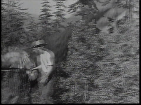 vidéos et rushes de 1934 montage men in the civilian conservation corps clearing ground with hoes and chopping down large trees / united states - 1934