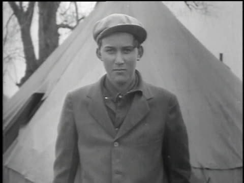 men in their civilian clothes and men in their civilian conservation corps uniforms / united states - 1934 stock videos & royalty-free footage