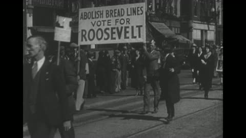 """men in winter coats stand in latticed shadows / placard """"paid for to this point, every dollar pays for 20 more meals"""" / man with cigarette gives men... - great depression stock videos & royalty-free footage"""