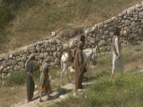 Men leading a donkey walk along a path up Mount Zion.