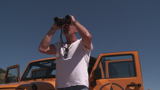 Men looking with binoculars.