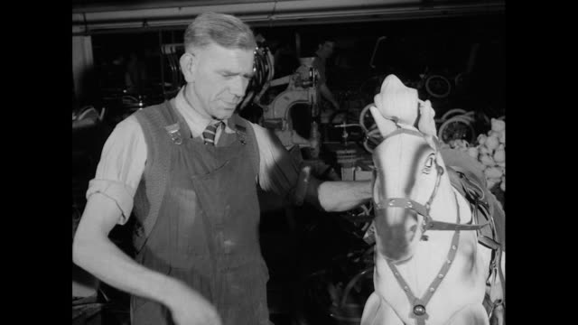 men make rocking horses in factory; 1956 - production line worker stock videos & royalty-free footage