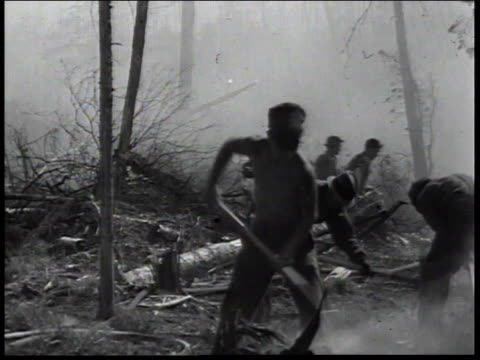 1936 montage men of civilian conservation corps in forest digging trenches to stop forest fire / united states - civilian conservation corps stock-videos und b-roll-filmmaterial