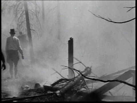 1936 montage men of the civilian conservation corps in forest digging trenches to stop forest fire / united states - civilian conservation corps stock-videos und b-roll-filmmaterial