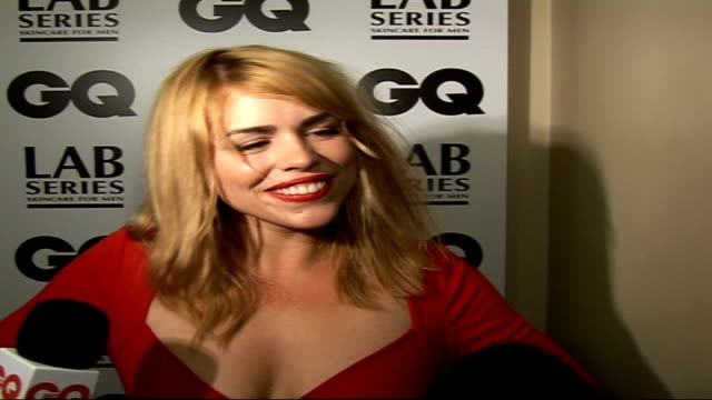 Interviews Billie Piper posing for photocall / posing for photocall with Nesbitt Billie Piper interview SOT Reacts to award / can't smile wide enough...