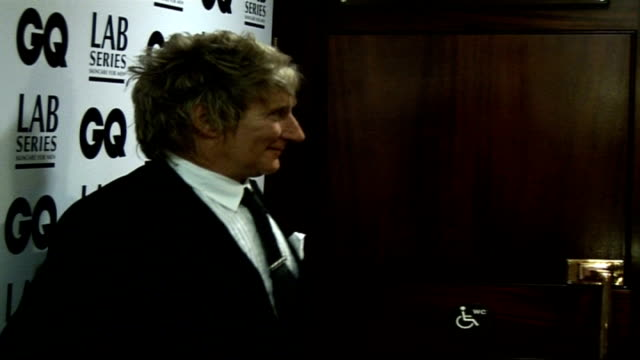 Interviews Rod Stewart posing for photocall along and with Penny Lancaster and David Walliams
