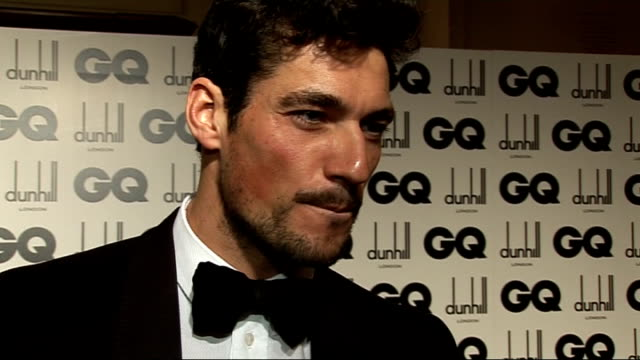 red carpet winners' room interviews David Gandy interview SOT How long it took him to get ready what he is wearing On getting free stuff no On...