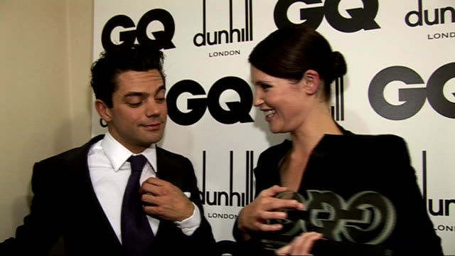 red carpet winners' room interviews Gemma Arterton and Dominic Cooper interviewed SOT On her award GQ Woman of the Year / On Dominic giving her the...