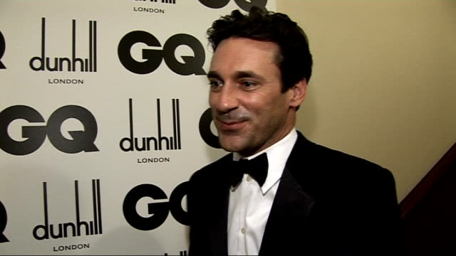 red carpet winners' room interviews Jon Hamm interview SOT What he won International Man that's interesting he didn't think he was Who he is sat with...