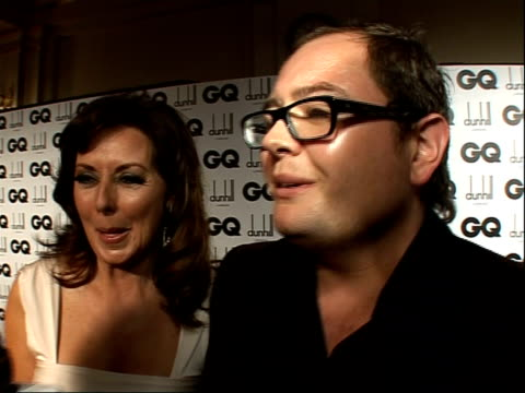 red carpet interviews alan carr interview sot as vorderman laughing on why they are there together / she's consolidating one of my loans / jokes that... - carol vorderman stock videos & royalty-free footage