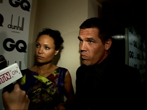 red carpet interviews thandie newton and josh brolin interview sot both talking about new film w each talk about the other persons role in the film... - thandie newton stock videos & royalty-free footage