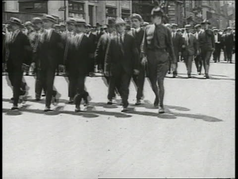 men officers theodore roosevelt standing in reviewing stand street parade of civilian draftees lines marching w/ soldier on end ms theodore roosevelt... - parade stock videos & royalty-free footage
