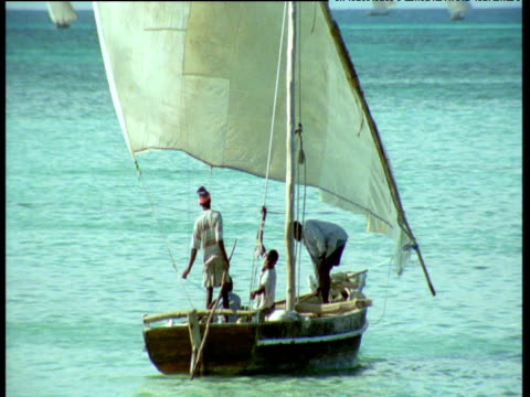 men on fishing boat - zanzibar archipelago stock videos & royalty-free footage