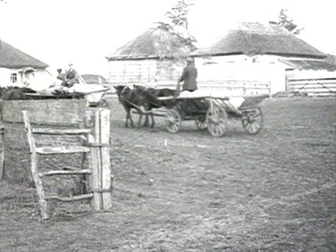 men on horse carts leaving town, carts transporting grain bags, convoy leaving farm audio/ russia - anno 1928 video stock e b–roll