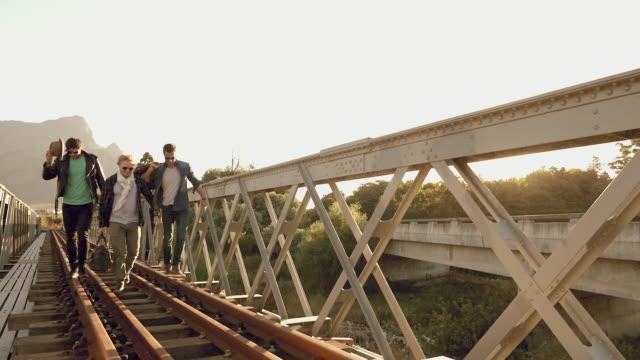 Men on railroad track