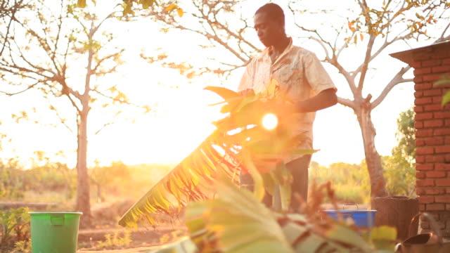 vídeos de stock e filmes b-roll de men on rural african farm working - malávi
