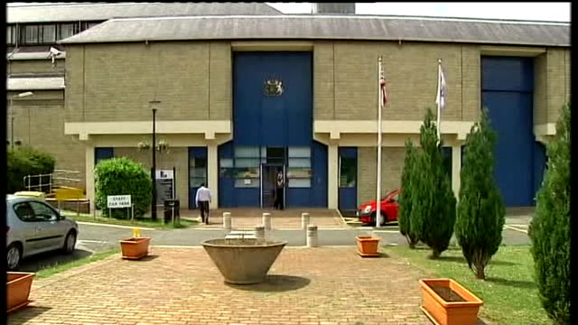 stockvideo's en b-roll-footage met men on trial in raoul moat case; county durham: durham prison: exterior of durham prison gvs top barber hairdressers - county durham engeland