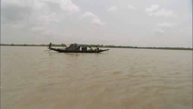 ws ds men paddling at small boat on wide river / sunderbans, bangladesh - bangladesh stock videos and b-roll footage