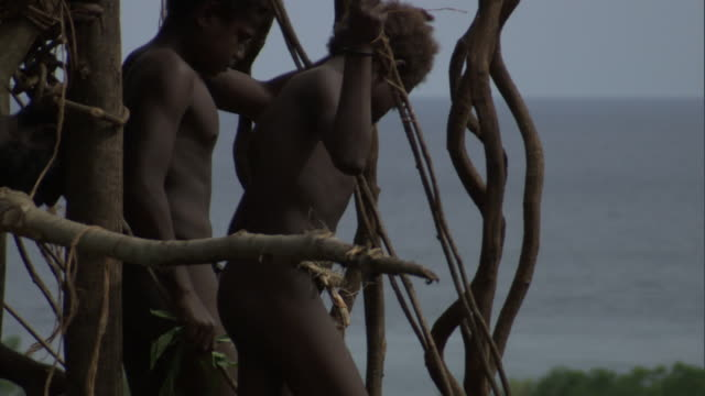 Men peer off wooden tower during land diving ritual, Pentecost, Vanuatu