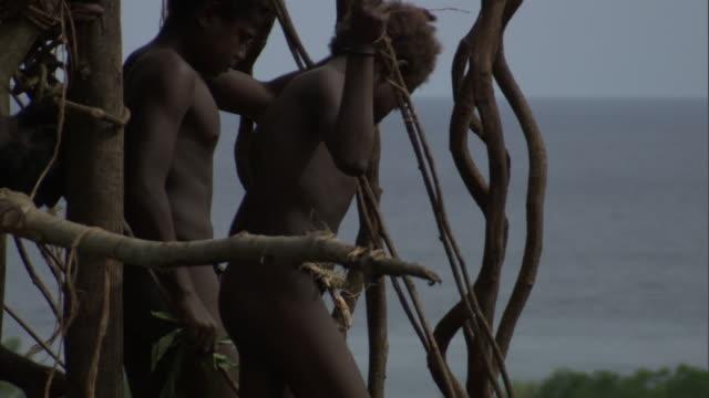 men peer off wooden tower during land diving ritual, pentecost, vanuatu - pentecost stock videos and b-roll footage