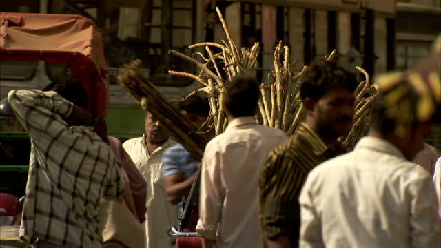 men place bundles of sugarcane into a cart. - sugar cane stock videos & royalty-free footage