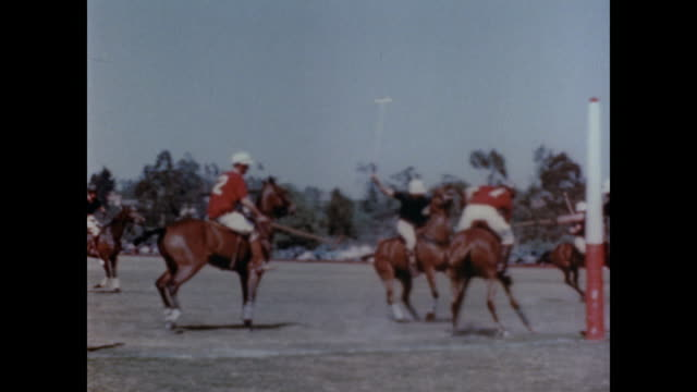 1947 Men play polo on horseback in the sun