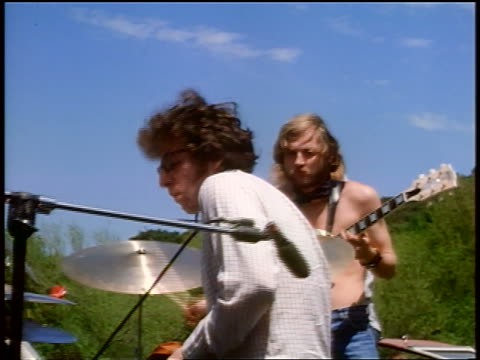 1968 men playing drums guitar outdoors / tapia park california / newsreel - 1968 stock videos & royalty-free footage