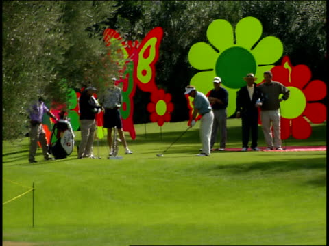 men playing golf on las vegas course with large flower signs in background - green di golf video stock e b–roll