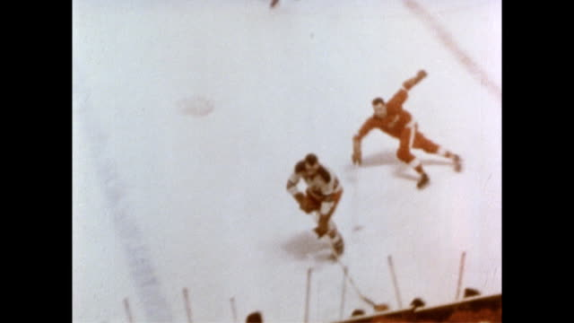 men playing indoor ice hockey. men playing ice hockey on february 05, 1954 - 1954 stock videos & royalty-free footage